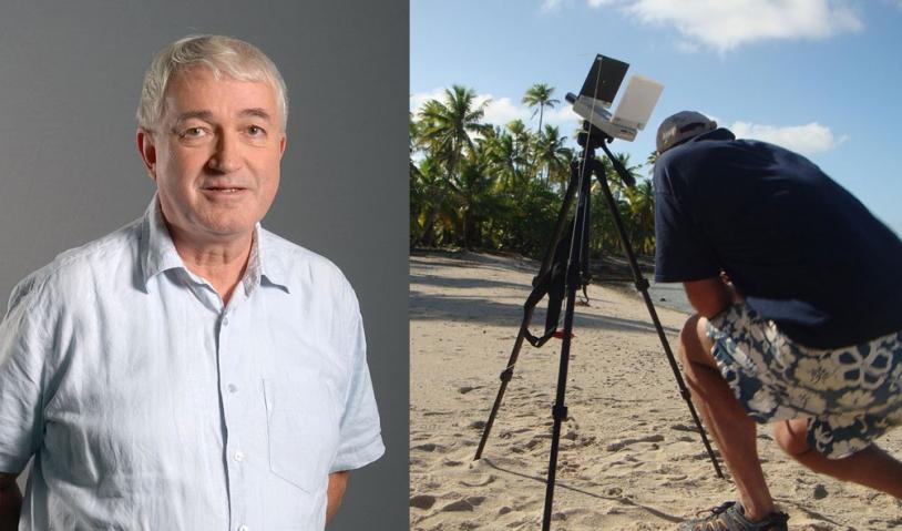 Jean-Yves Prado, expert en physique solaire au CNES ; photomètre enregistrant une courbe de lumière pendant l'éclipse de 2010, en Polynésie française (à droite). Crédits : CNES.
