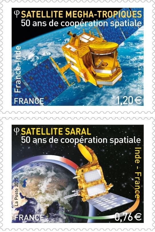 2 timbres exclusifs : Megha-Tropiques et Saral-Altika. Crédits : La Poste.
