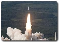 Décollage d'Ariane vol 198 vu d'hélicoptère