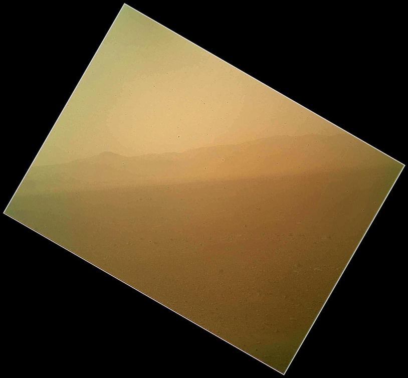 Première image du paysage martien en couleur par Curiosity