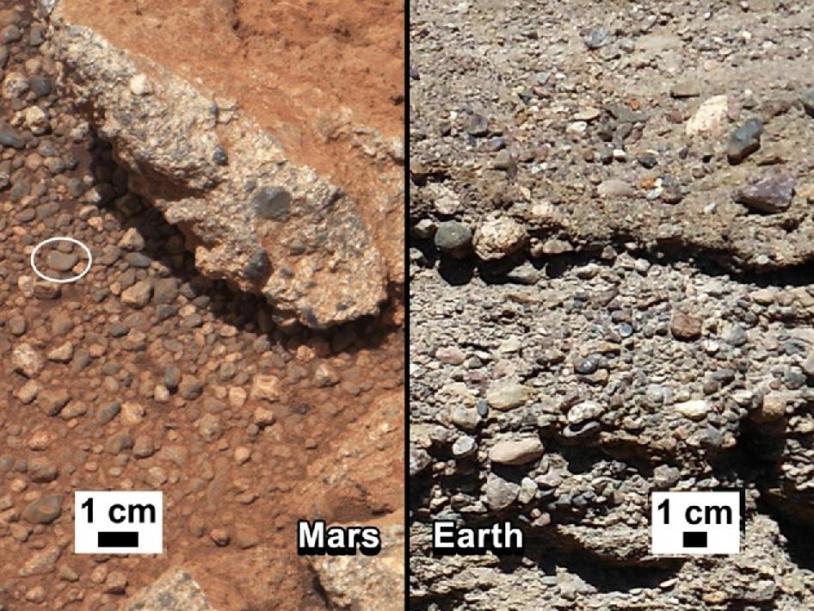 Comparaison entre l'affleurement Link (à gauche) et le même type de formation sur Terre