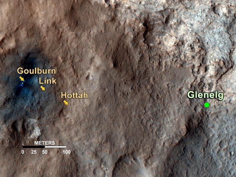 Carte de situation des affleurements rocheux constitués de graviers qu'a découverts Curiosity sur la route de Glenelg, carrefour entre 3 types de terrains