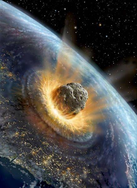 llustration d'artiste, simulant l'impact d'un astéroïde sur Terre